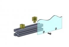 Uniblock, PVC hart, PVC, Scheibenhalter, Halter, Flächenelement, Anbauteil, Zubehör, flexibel, Nut 10 6302 K 1006 TR 01