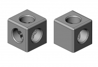 Würfelverbinder, TecEnMa, Cube, Connector, 2,3, Profile, 30,40,45, Nut  8, Nut 8, Aluminium, Druckguss