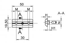 Nutenstein, 2-fach, Nut 10, mm, M6 M5, Schraube, Gewindestift M5 x 12, mit Führung, DIN 914