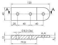 Gelenk-Platte-40x120x12 4710-A-40120-EL-01